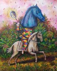 Crazy Horse, huile et peinture aérosol sur toile, 100x80 cm, 2018